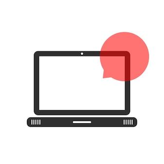Computer portatile nero con nuvoletta. concetto di comunione online, segreteria telefonica, applicazione chat, assistente vocale. isolato su sfondo bianco. illustrazione vettoriale di design moderno logotipo tendenza stile piatto