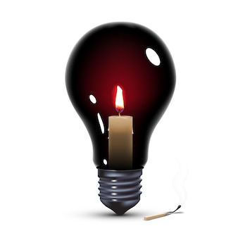 Lampadina nera con candela all'interno