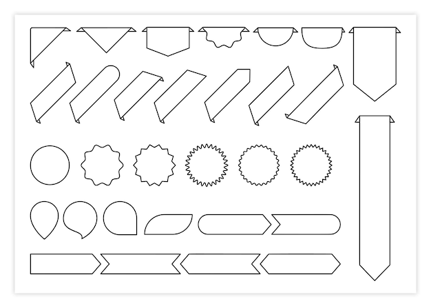 Linea nera etichetta modello banner vettore raccolta illustrazione contorno forma curva tag segnalibri