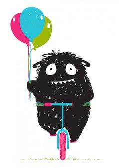 Black little monster impaurito di andare in bicicletta cartoon per bambini