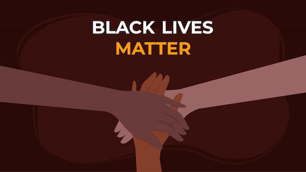 Black lives matter background - le mani si uniscono contro il problema sociale del razzismo