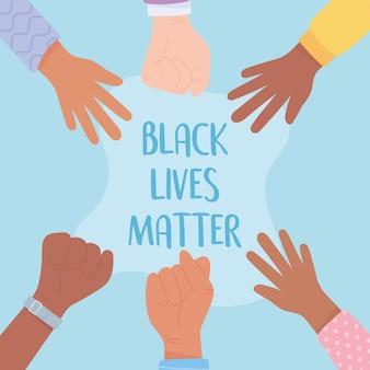 Black lives matter banner per protesta, campagna di sensibilizzazione sui diritti umani dei neri contro la discriminazione razziale