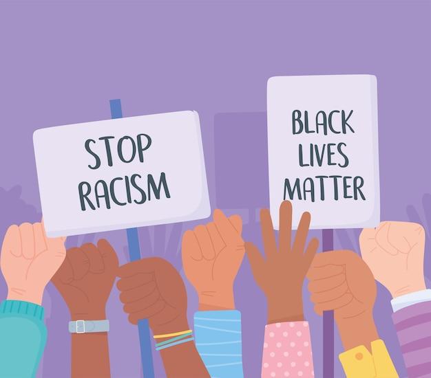 Le vite nere contano, banner per la protesta, i manifestanti tengono cartelli e alzano i pugni, campagna di sensibilizzazione contro la discriminazione razziale