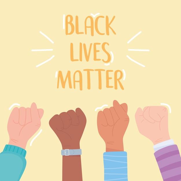 Le vite nere contano banner per la protesta, le mani alzate sostengono la campagna di sensibilizzazione contro la discriminazione razziale
