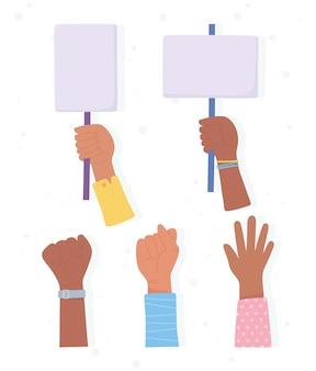 Black lives matter banner per protesta, mani alzate con manifestanti playcards, campagna di sensibilizzazione contro la discriminazione razziale