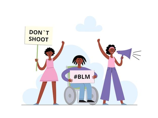 Concetto di black lives matter con donna afroamericana che grida nel megafono e uomini che tengono il cartello sulla dimostrazione, poster per l'uguaglianza razziale in stile cartone animato su bianco