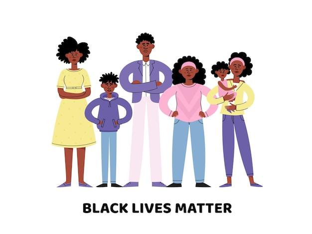 Concetto di black lives matter con giovani e adulti afroamericani in stile, idea di dimostrazione per l'uguaglianza razziale.