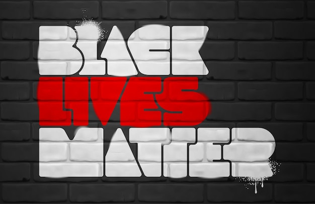Black lives matter scritte sul muro di mattoni.