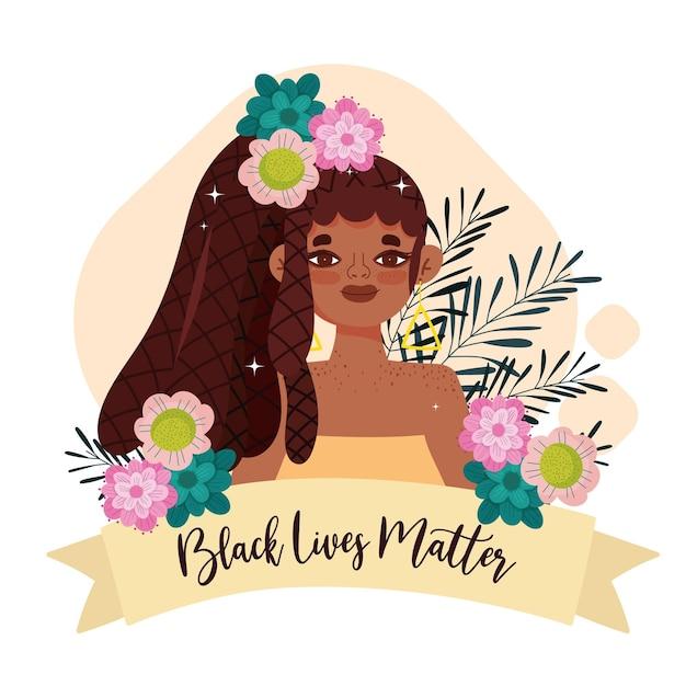 Modello di materia di vita nera con donna carina, fiori e nastro