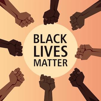 Il nero vive la questione con il design dei pugni dell'illustrazione di tema di giustizia e razzismo di protesta