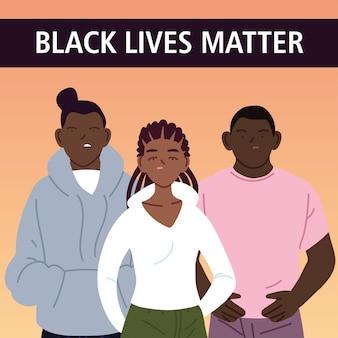 Le vite nere contano con i cartoni animati di ragazzi e ragazze dell'illustrazione di tema di giustizia e razzismo di protesta