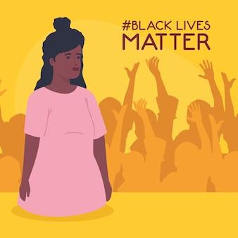 Il nero vive la materia, donna africana con silhouette di persone che protestano, ferma il concetto di razzismo.