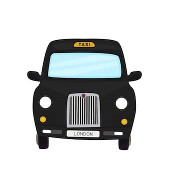 Taxi nero di londra. illustrazione vettoriale dei cartoni animati