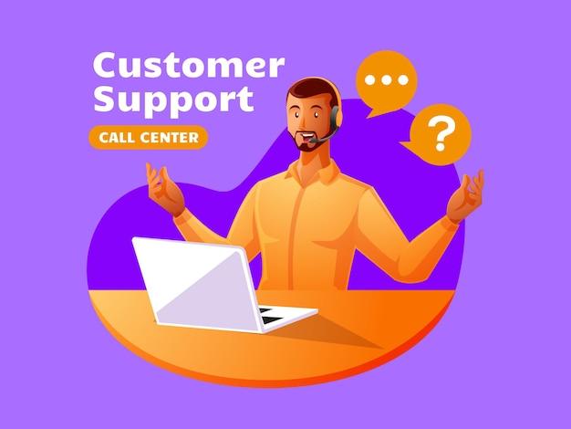 Il call center dell'assistenza clienti dell'uomo di colore lavora per rispondere ai reclami dei clienti