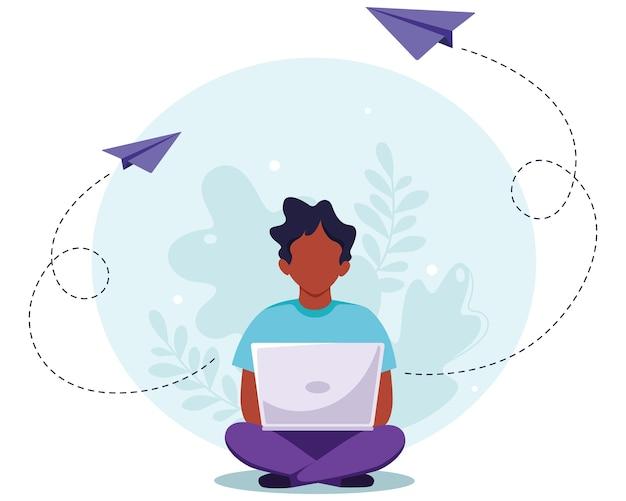 Uomo nero che si siede con il computer portatile. freelance, studio online, concetto di lavoro a distanza. in uno stile piatto.