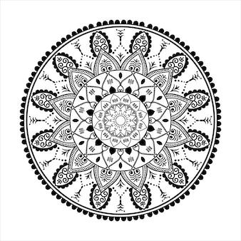 Mandala nero per il design, disegno del modello circolare mandala per l'henné
