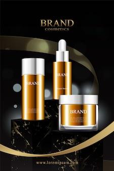 Supporto in marmo nero per l'esposizione di prodotti cosmetici