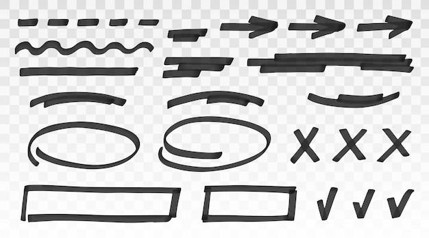 Set di modelli di pennarello nero o tratto di pennello