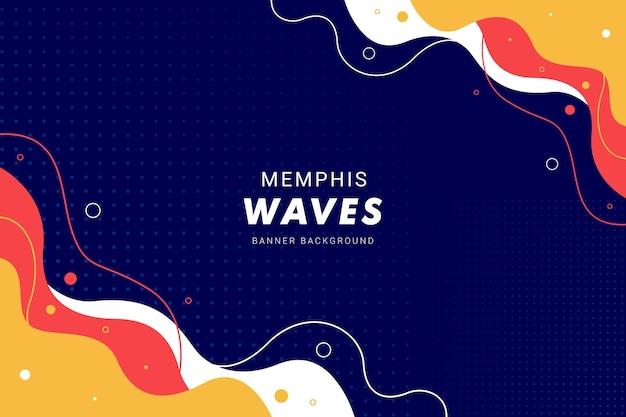 Sfondo nero memphis waves per modello di banner flyer brochure design