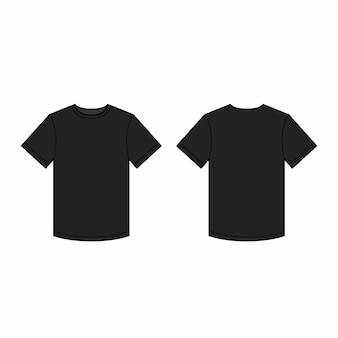 Modello di t-shirt da uomo nero. Vettore Premium
