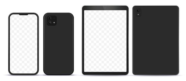 Mock-up di computer tablet e telefono cellulare nero con vista laterale anteriore e posteriore.