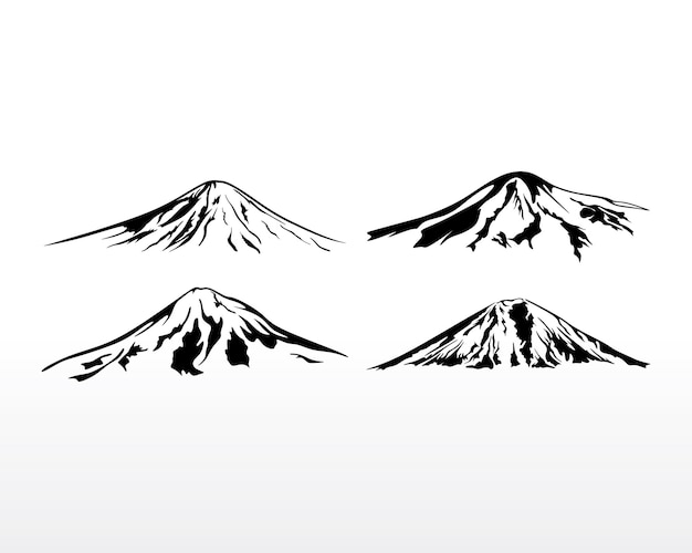Logo di montagna nera. illustrazione della siluetta di vettore di progettazione di logo della montagna