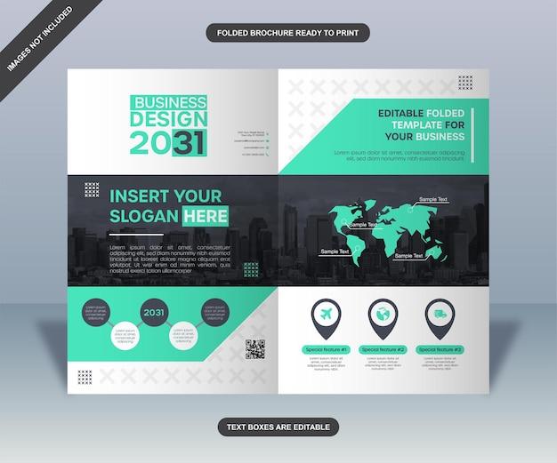 Brochure aziendale pieghevole nera e verde neon
