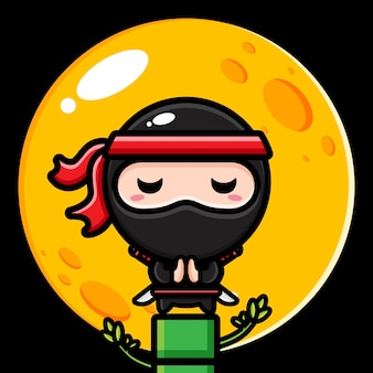Ninja nero su un albero di bambù con la luna piena