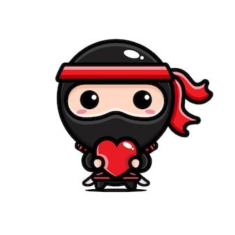 Ninja nero che abbraccia un cuore d'amore Vettore Premium