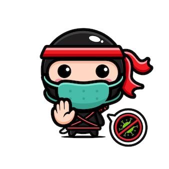 Ninja nero che indossa una maschera con posa del virus di arresto
