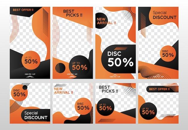 Set di modelli di banner dinamico nero e arancione Vettore Premium