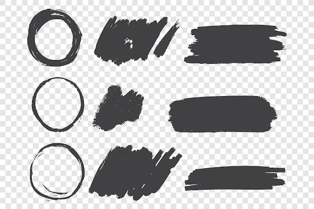 Scarabocchi disegnati a mano di scarabocchio di vernice nera impostare illustrazione