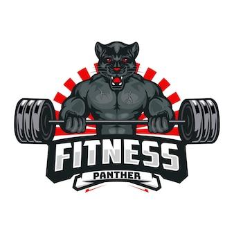 Modello di logo fitness pantera nera