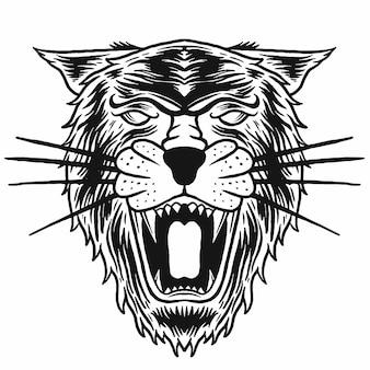 Disegno vettoriale di disegno di contorno di pantera nera