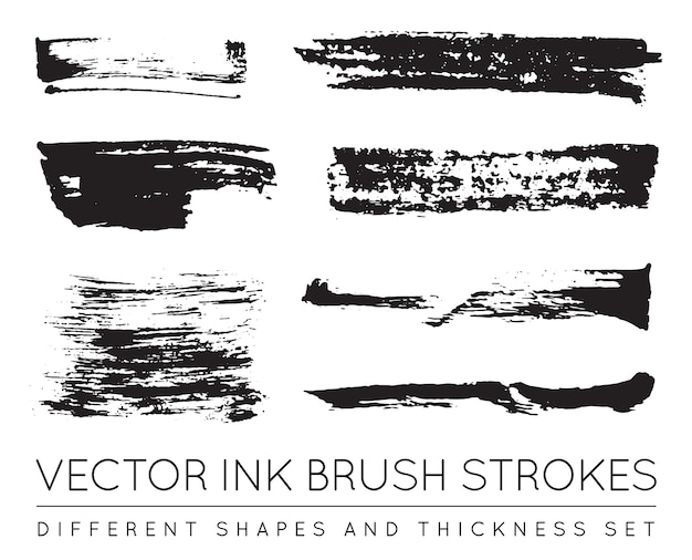 Pennellate di inchiostro della penna nera. tratto di pennello inchiostro grunge. tratto di pennello sporco.