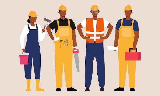 Illustrazione del personaggio dei cartoni animati del gruppo di costruzione della gente di colore