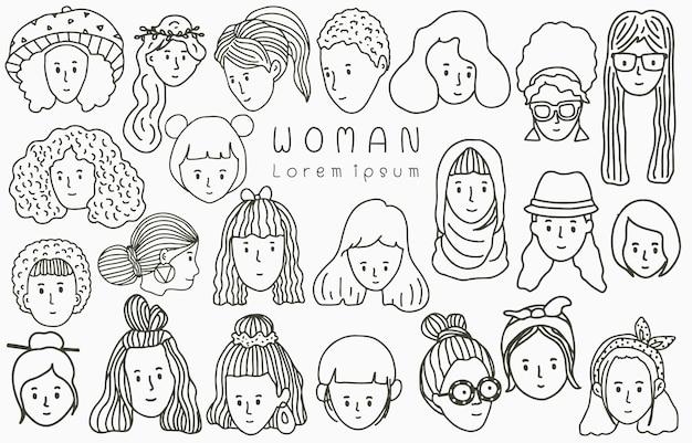 Linea di persone nere collezione con donna, femmina, ragazza, persone.illustrazione di vettore per icona, logo, adesivo, stampabile e tatuaggio