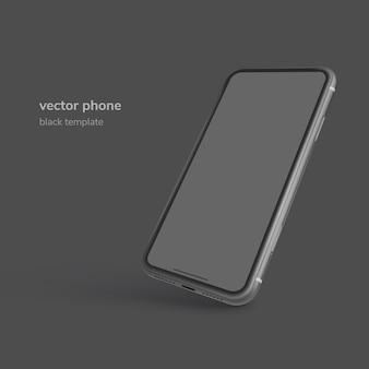 Telefono nero isolato su sfondo nero