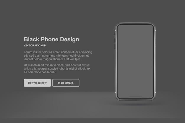 Telefono nero isolato su sfondo scuro