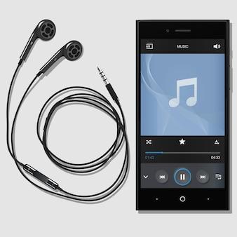 Telefono nero con cuffie moderne su sfondo bianco. telefono moderno sul tavolo. un auricolare connesso al telefono. telefono musicale con lettore. illustrazione