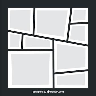 Modello di collage di foto cornice nera