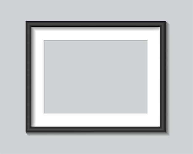Modello di cornice per foto nera. illustrazione.