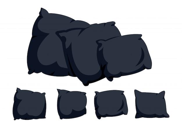 Insieme del fumetto piatto cuscino nero. tessuti per interni domestici. modello di cuscino mockup di tre cuscini quadrati scuri. ecopelle di piume, bambù