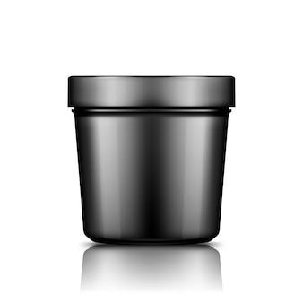 Modello di secchio di plastica nera isolato dal contenitore di gelato, burro o yogurt di sfondo