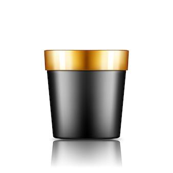 Secchio di plastica nera con mockup di tappo d'oro isolato dallo sfondo
