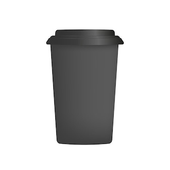 Tazza di plastica nera per caffè in 3d. vettore di tazza di caffè di carta. isolato.