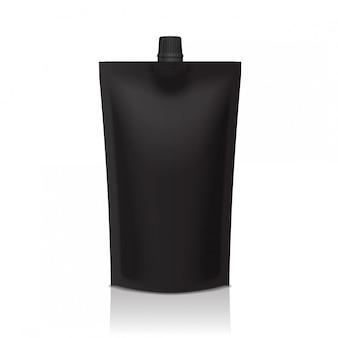 Doypack in plastica nera con supporto per beccuccio. imballaggi flessibili per alimenti o bevande