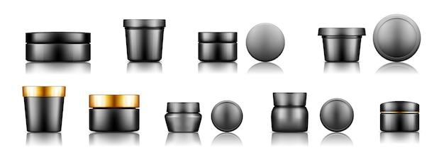 Set di barattoli cosmetici pacchetto di plastica nera