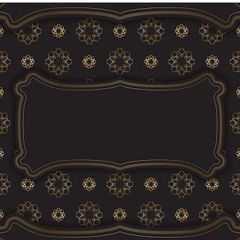 Cartolina nera con ornamento greco dorato