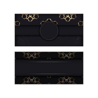Cartolina nera con ornamento indiano dorato